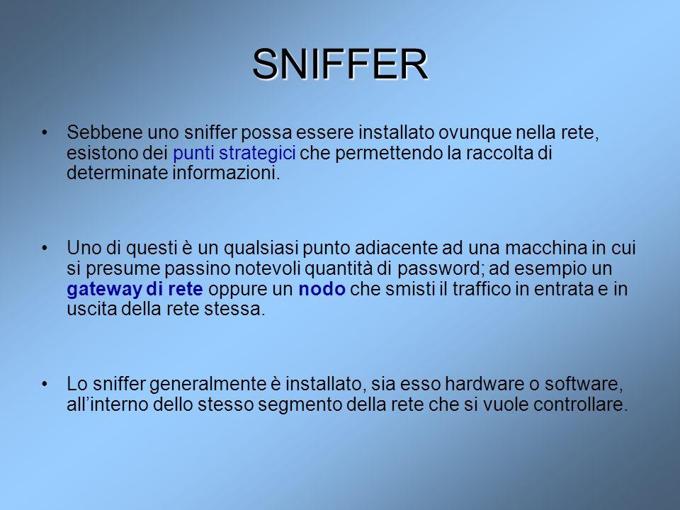 SNIFFER Sebbene uno sniffer possa essere installato ovunque nella rete, esistono dei punti strategici che permettendo la raccolta di determinate infor