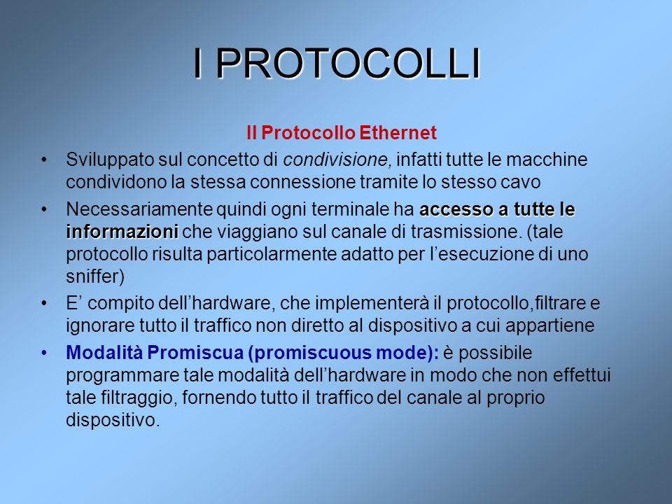 I PROTOCOLLI Il Protocollo Ethernet Sviluppato sul concetto di condivisione, infatti tutte le macchine condividono la stessa connessione tramite lo st