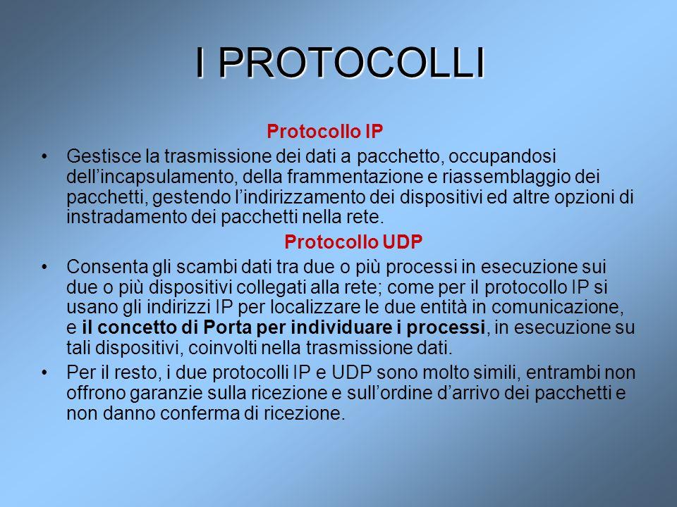 I PROTOCOLLI Protocollo IP Gestisce la trasmissione dei dati a pacchetto, occupandosi dell'incapsulamento, della frammentazione e riassemblaggio dei p