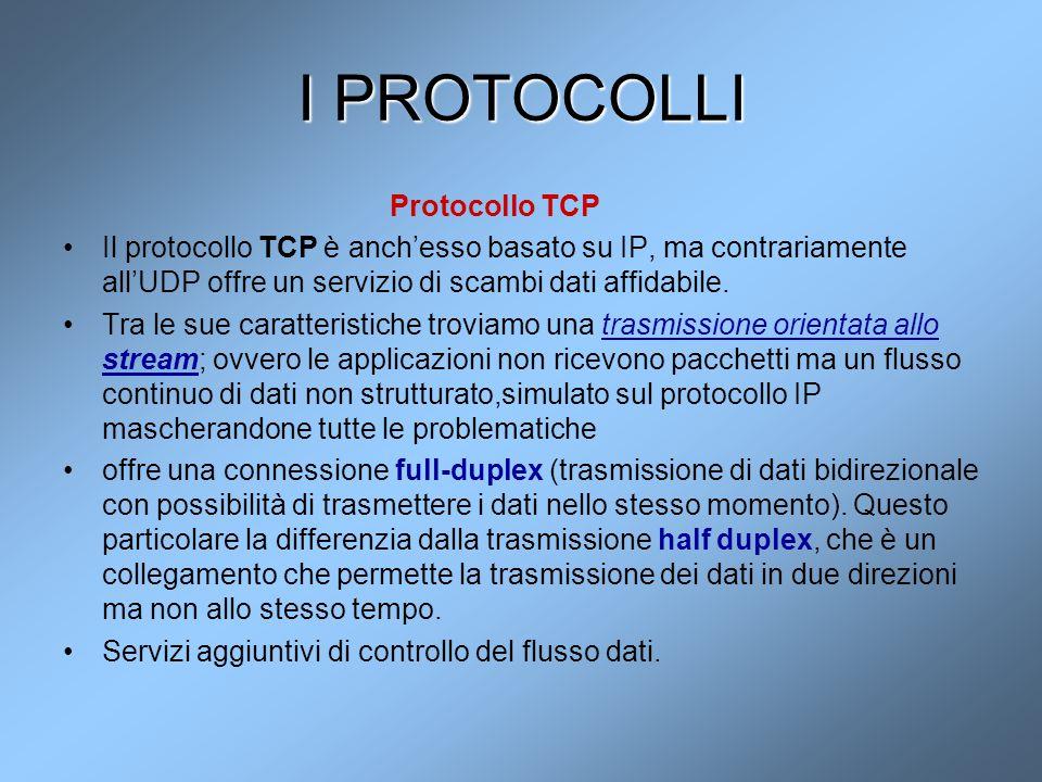 I PROTOCOLLI Protocollo TCP Il protocollo TCP è anch'esso basato su IP, ma contrariamente all'UDP offre un servizio di scambi dati affidabile. Tra le