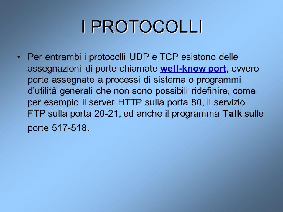 I PROTOCOLLI Per entrambi i protocolli UDP e TCP esistono delle assegnazioni di porte chiamate well-know port, ovvero porte assegnate a processi di si