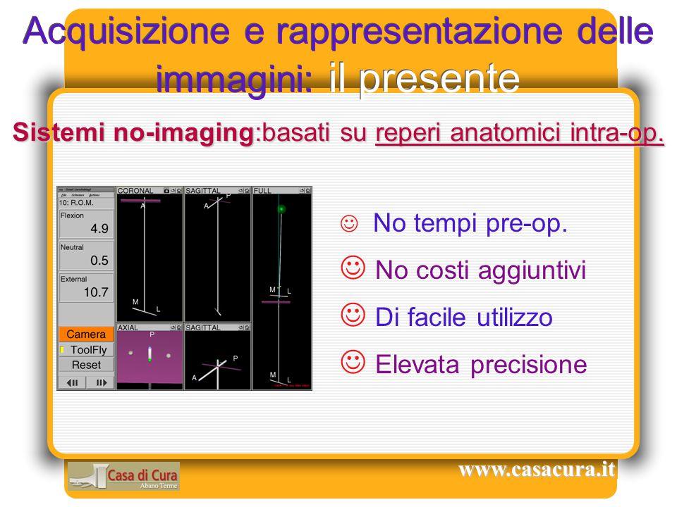 Acquisizione e rappresentazione delle immagini: il presente No tempi pre-op. No costi aggiuntivi Di facile utilizzo Elevata precisione Sistemi no-imag