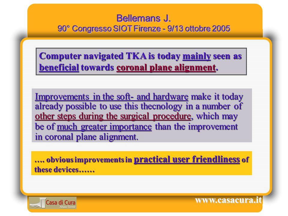Maggiore Precisione = Maggiore Funzionalità A nostro avviso il corretto bilancio legamentoso, associato ad un corretto posizionamento delle componenti protesiche che permetta di ottenere il corretto allineamento dell'asse di carico, potrà in futuro consentire una ancor maggiore sopravvivenza della TKA.