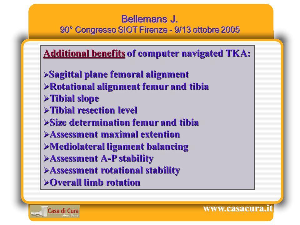 Bellemans J. 90° Congresso SIOT Firenze - 9/13 ottobre 2005 www.casacura.it Additional benefits of computer navigated TKA:  Sagittal plane femoral al