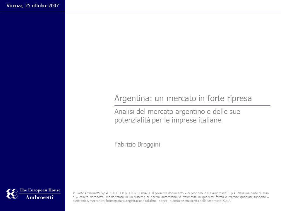 Argentina: un mercato in forte ripresa Analisi del mercato argentino e delle sue potenzialità per le imprese italiane Fabrizio Broggini Vicenza, 25 ottobre 2007 © 2007 Ambrosetti S.p.A.