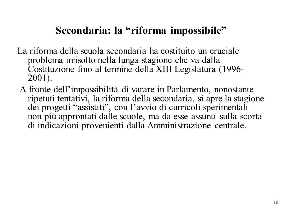 18 Secondaria: la riforma impossibile La riforma della scuola secondaria ha costituito un cruciale problema irrisolto nella lunga stagione che va dalla Costituzione fino al termine della XIII Legislatura (1996- 2001).
