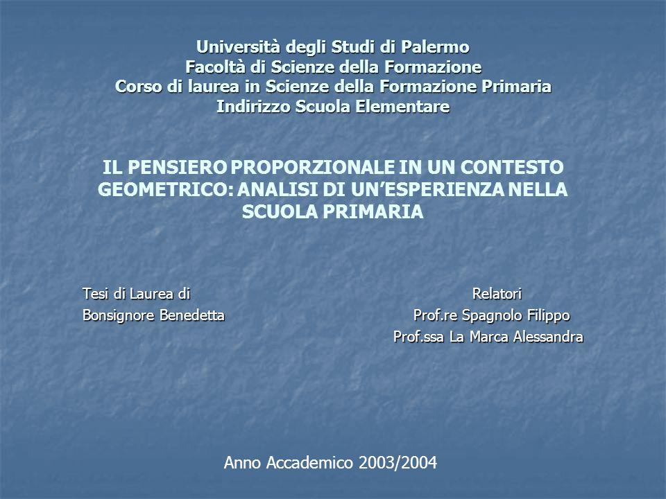 Università degli Studi di Palermo Facoltà di Scienze della Formazione Corso di laurea in Scienze della Formazione Primaria Indirizzo Scuola Elementare