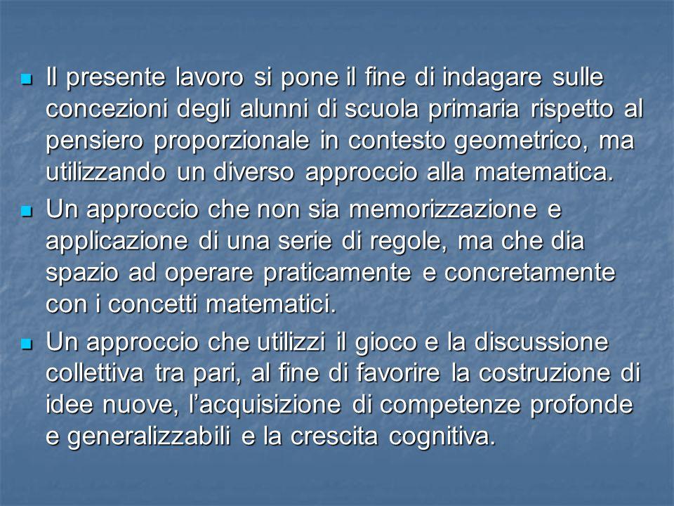 Il presente lavoro si pone il fine di indagare sulle concezioni degli alunni di scuola primaria rispetto al pensiero proporzionale in contesto geometr