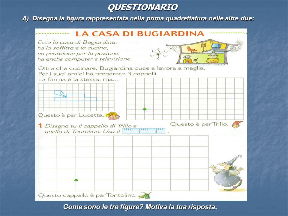A) Disegna la figura rappresentata nella prima quadrettatura nelle altre due: Come sono le tre figure? Motiva la tua risposta Come sono le tre figure?