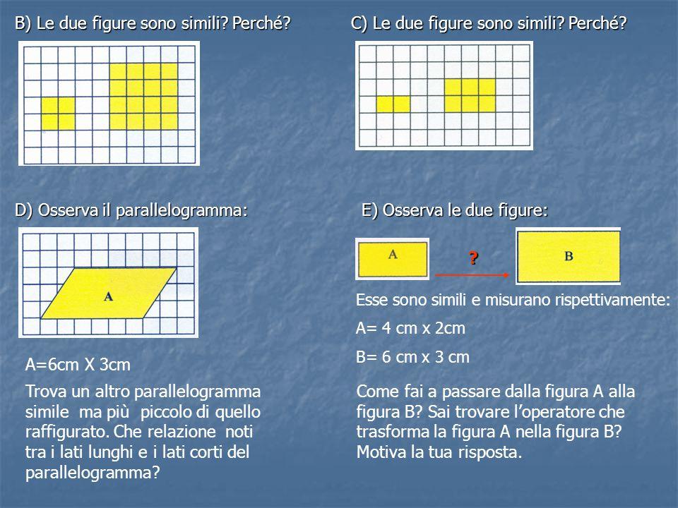 B) Le due figure sono simili? Perché? C) Le due figure sono simili? Perché? D) Osserva il parallelogramma: A=6cm X 3cm Trova un altro parallelogramma