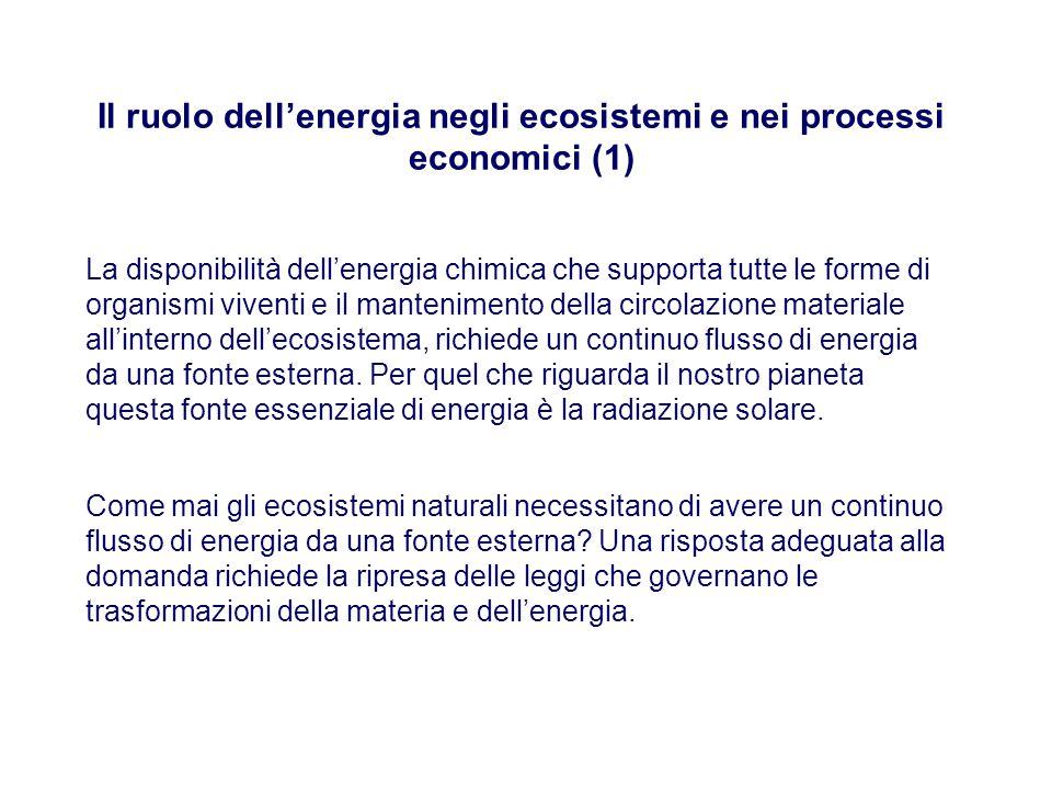 Il ruolo dell'energia negli ecosistemi e nei processi economici (1) La disponibilità dell'energia chimica che supporta tutte le forme di organismi viventi e il mantenimento della circolazione materiale all'interno dell'ecosistema, richiede un continuo flusso di energia da una fonte esterna.