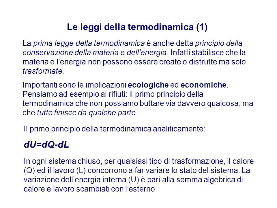 Le leggi della termodinamica (1) La prima legge della termodinamica è anche detta principio della conservazione della materia e dell'energia.