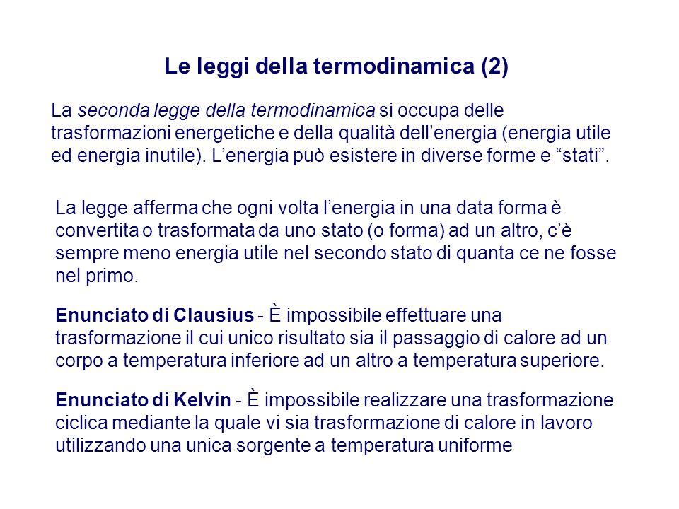Le leggi della termodinamica (2) La seconda legge della termodinamica si occupa delle trasformazioni energetiche e della qualità dell'energia (energia utile ed energia inutile).