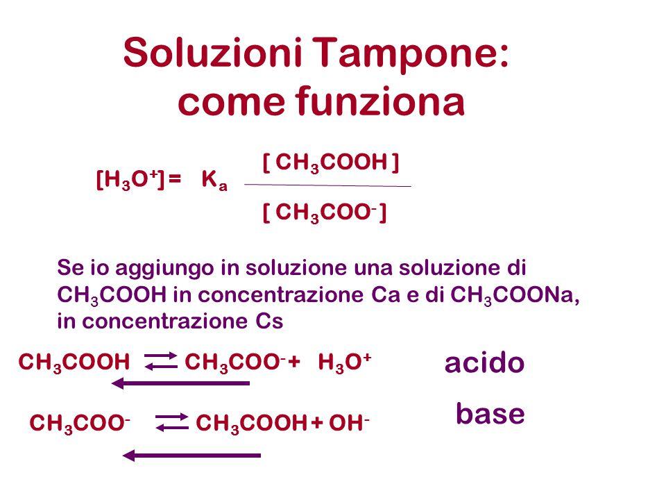 Soluzioni Tampone: come funziona Se io aggiungo in soluzione una soluzione di CH 3 COOH in concentrazione Ca e di CH 3 COONa, in concentrazione Cs CH