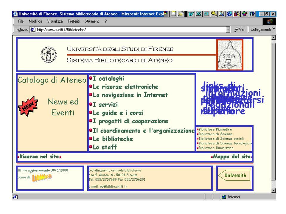 logoindice links di particolare rilievo strumenti per orientarsi nel sito informazioni redazionali indirizzo link alla unità superiore