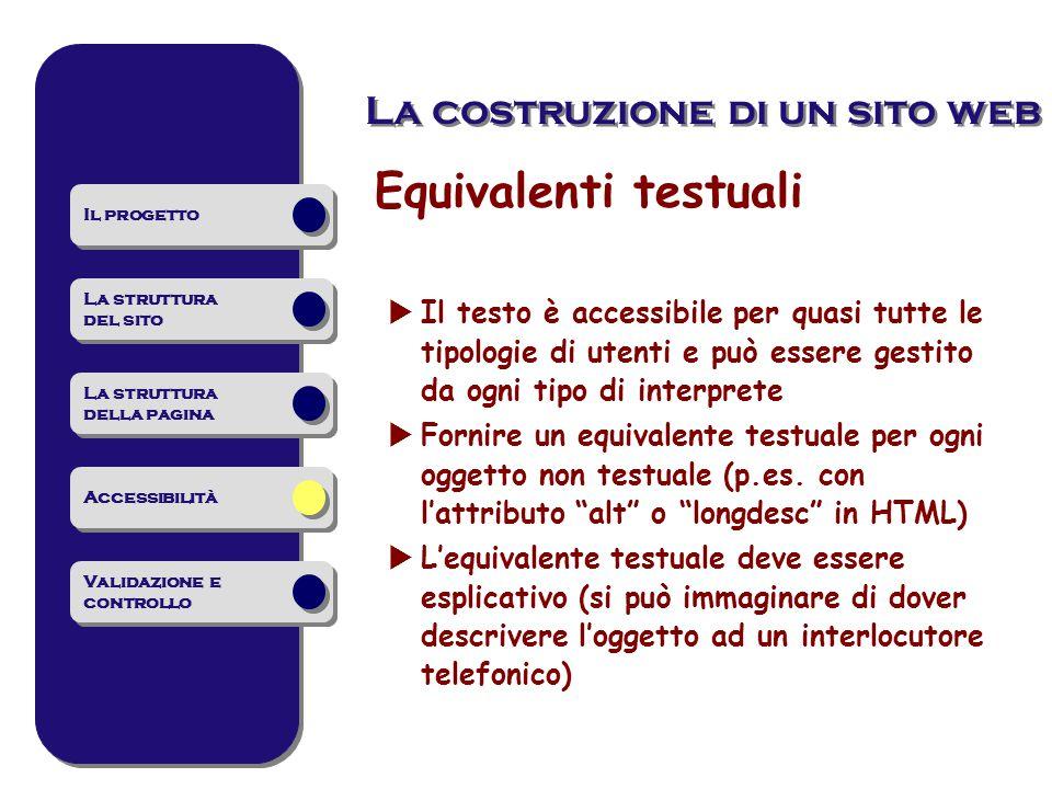 Equivalenti testuali  Il testo è accessibile per quasi tutte le tipologie di utenti e può essere gestito da ogni tipo di interprete  Fornire un equivalente testuale per ogni oggetto non testuale (p.es.
