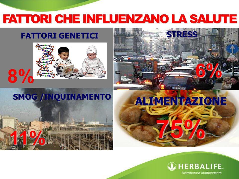 SMOG /INQUINAMENTO FATTORI GENETICI STRESS ALIMENTAZIONE 8% 6% 11% 75% FATTORI CHE INFLUENZANO LA SALUTE