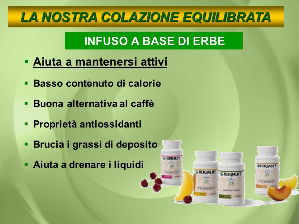 INFUSO A BASE DI ERBE AAiuta a mantenersi attivi BBasso contenuto di calorie BBuona alternativa al caffè PProprietà antiossidanti BBrucia i