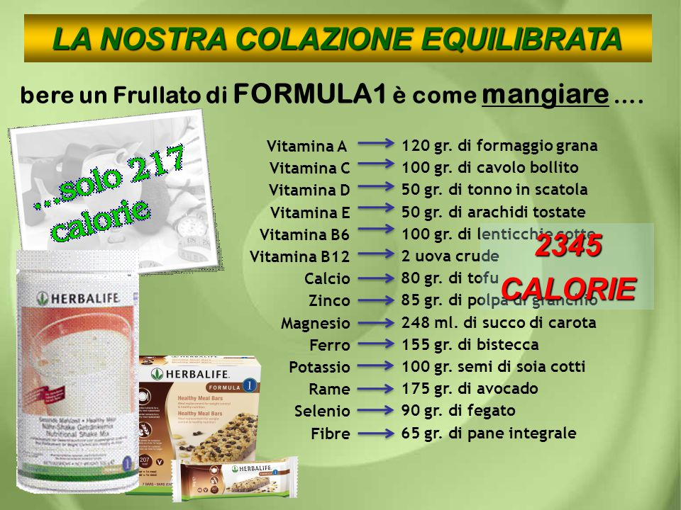 bere un Frullato di FORMULA1 è come mangiare …. Vitamina A Vitamina C Vitamina D Vitamina E Vitamina B6 Vitamina B12 Calcio Zinco Magnesio Ferro Potas