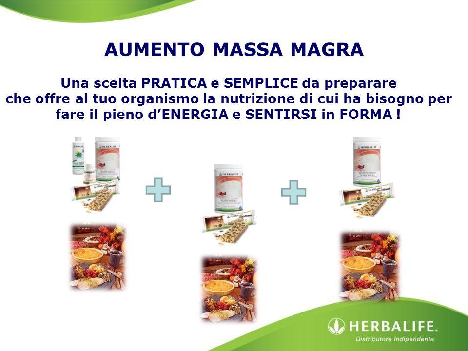 AUMENTO MASSA MAGRA Una scelta PRATICA e SEMPLICE da preparare che offre al tuo organismo la nutrizione di cui ha bisogno per fare il pieno d'ENERGIA