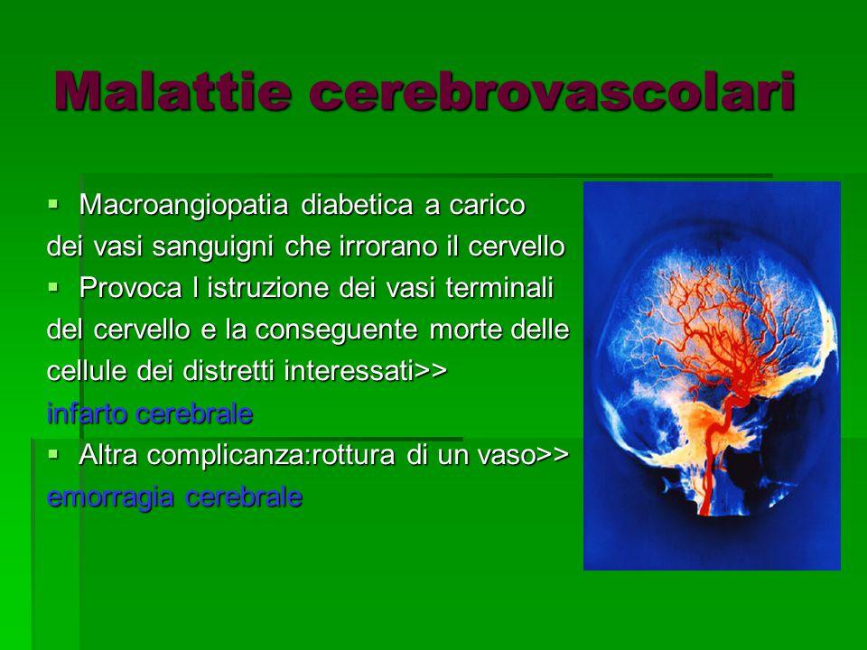 Malattie cerebrovascolari  Macroangiopatia diabetica a carico dei vasi sanguigni che irrorano il cervello  Provoca l istruzione dei vasi terminali del cervello e la conseguente morte delle cellule dei distretti interessati>> infarto cerebrale  Altra complicanza:rottura di un vaso>> emorragia cerebrale