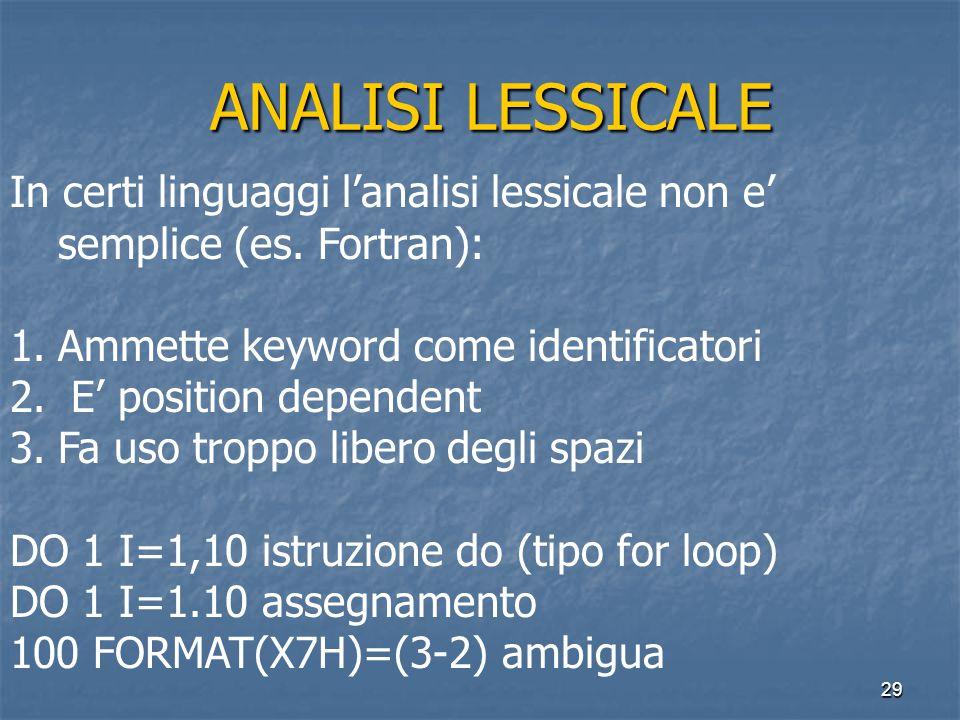 29 ANALISI LESSICALE ANALISI LESSICALE In certi linguaggi l'analisi lessicale non e' semplice (es.