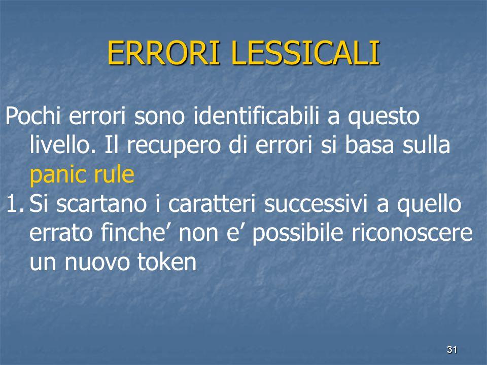 31 ERRORI LESSICALI Pochi errori sono identificabili a questo livello.