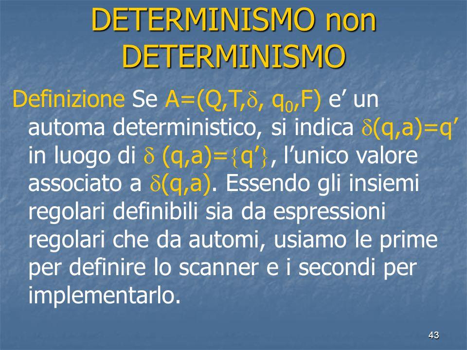 43 DETERMINISMO non DETERMINISMO Definizione Se A=(Q,T, , q 0,F) e' un automa deterministico, si indica  (q,a)=q' in luogo di  (q,a)=  q' , l'unico valore associato a  (q,a).