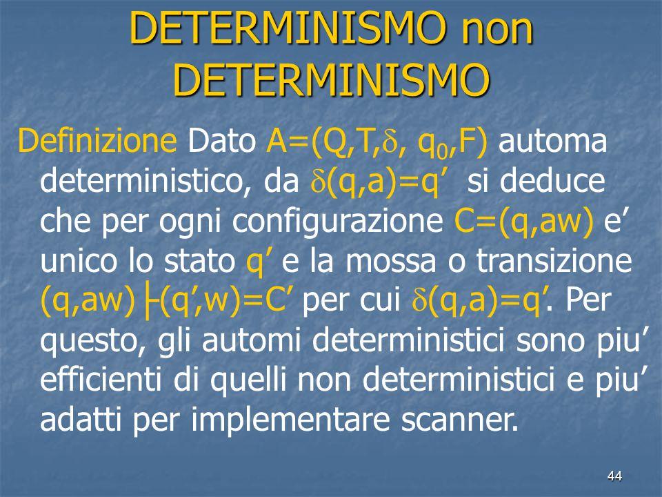 44 DETERMINISMO non DETERMINISMO Definizione Dato A=(Q,T, , q 0,F) automa deterministico, da  (q,a)=q' si deduce che per ogni configurazione C=(q,aw) e' unico lo stato q' e la mossa o transizione (q,aw) ├ (q',w)=C' per cui  (q,a)=q'.