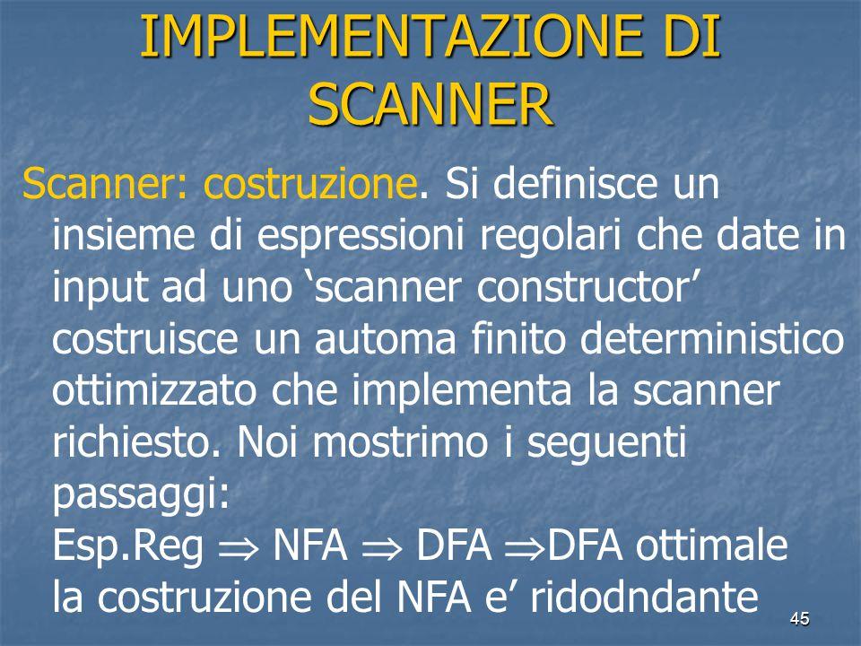 45 IMPLEMENTAZIONE DI SCANNER Scanner: costruzione.