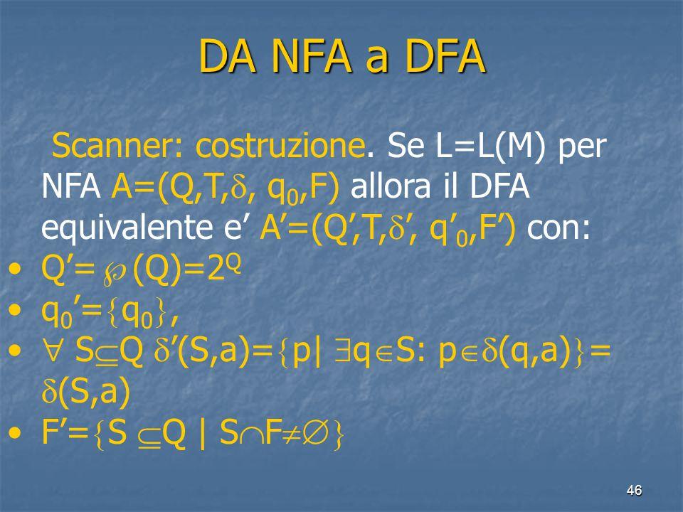 46 DA NFA a DFA Scanner: costruzione.