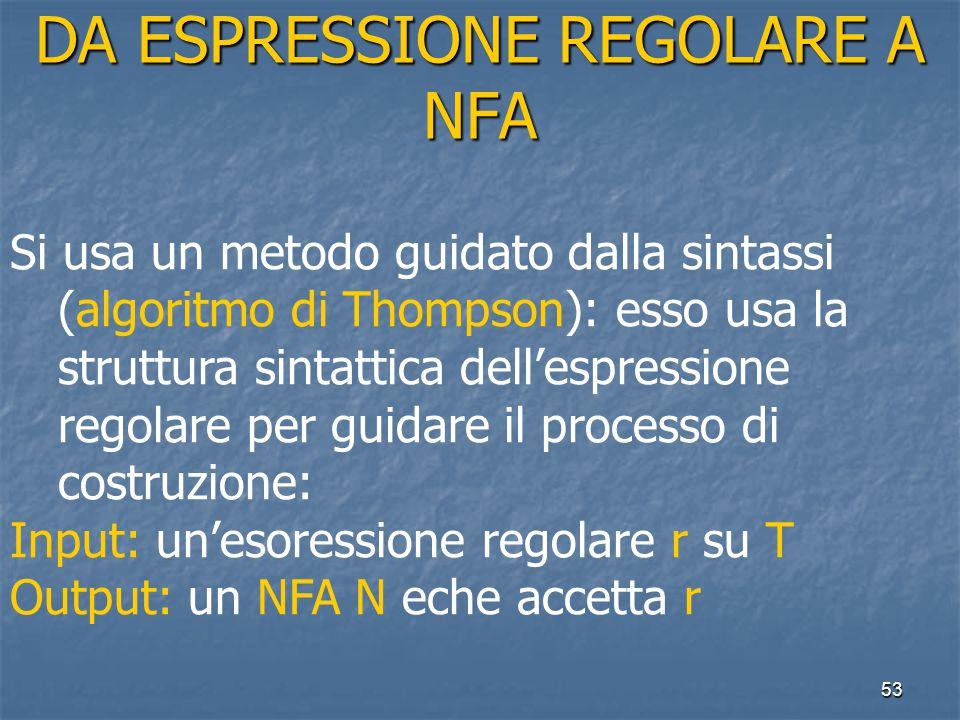 53 DA ESPRESSIONE REGOLARE A NFA Si usa un metodo guidato dalla sintassi (algoritmo di Thompson): esso usa la struttura sintattica dell'espressione regolare per guidare il processo di costruzione: Input: un'esoressione regolare r su T Output: un NFA N eche accetta r