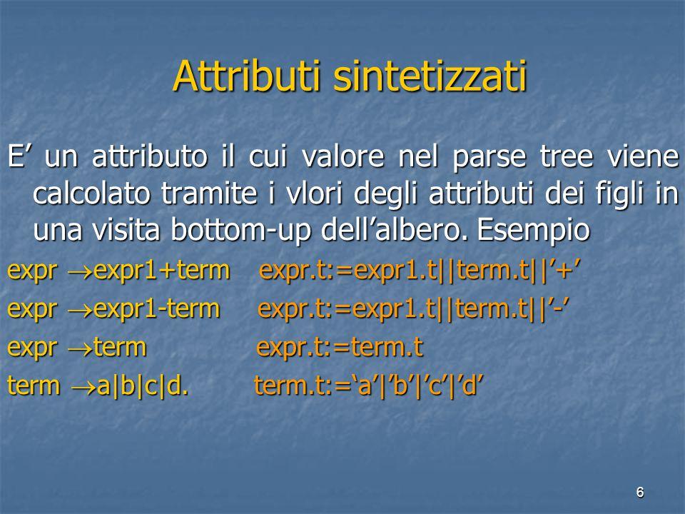 6 Attributi sintetizzati Attributi sintetizzati E' un attributo il cui valore nel parse tree viene calcolato tramite i vlori degli attributi dei figli in una visita bottom-up dell'albero.