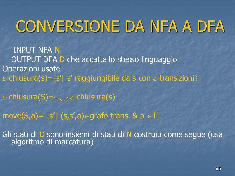 65 CONVERSIONE DA NFA A DFA CONVERSIONE DA NFA A DFA INPUT NFA N OUTPUT DFA D che accatta lo stesso linguaggio Operazioni usate  -chiusura(s)=  s'| s' raggiungibile da s con  -transizioni   -chiusura(S)=  s  S  -chiusura(s) move(S,a)=  s'| (s,s',a)  grafo trans.
