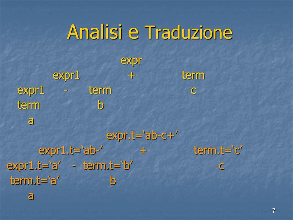 8 Schemi di Traduzione Schemi di Traduzione Uno schema di traduzione e' DGS nelle cui produzioni sono inseriti frammenti di codice detti azione semantiche.