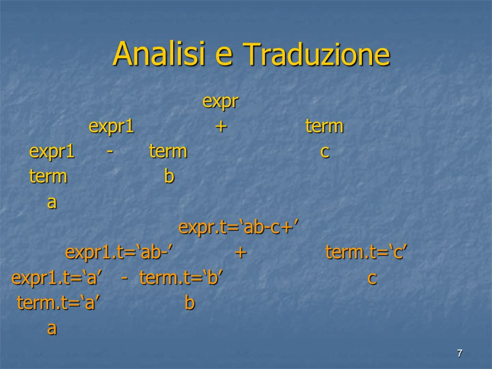 7 Analisi e Traduzione Analisi e Traduzione expr expr expr1 + term expr1 + term expr1 - term c expr1 - term c term b term b a expr.t='ab-c+' expr.t='ab-c+' expr1.t='ab-' + term.t='c' expr1.t='ab-' + term.t='c' expr1.t='a' - term.t='b' c expr1.t='a' - term.t='b' c term.t='a' b term.t='a' b a