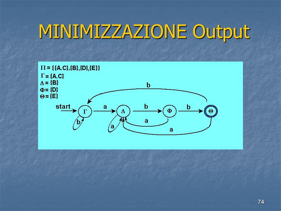 74 MINIMIZZAZIONE Output MINIMIZZAZIONE Output