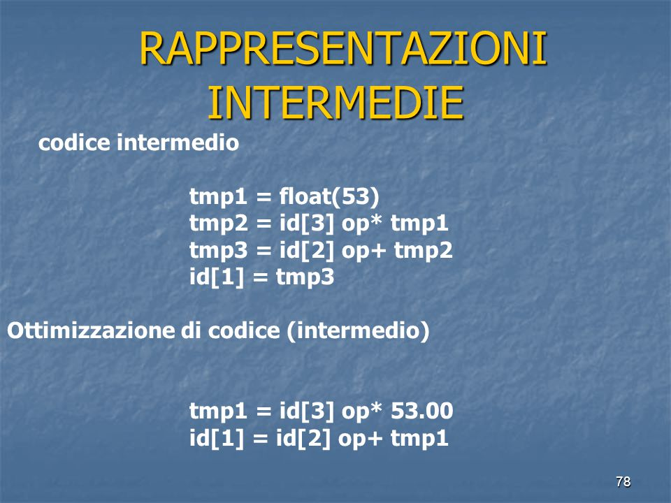 78 RAPPRESENTAZIONI INTERMEDIE RAPPRESENTAZIONI INTERMEDIE codice intermedio tmp1 = float(53) tmp2 = id[3] op* tmp1 tmp3 = id[2] op+ tmp2 id[1] = tmp3 Ottimizzazione di codice (intermedio) tmp1 = id[3] op* 53.00 id[1] = id[2] op+ tmp1