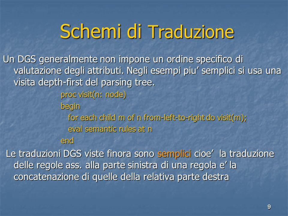 9 Schemi di Traduzione Schemi di Traduzione Un DGS generalmente non impone un ordine specifico di valutazione degli attributi.