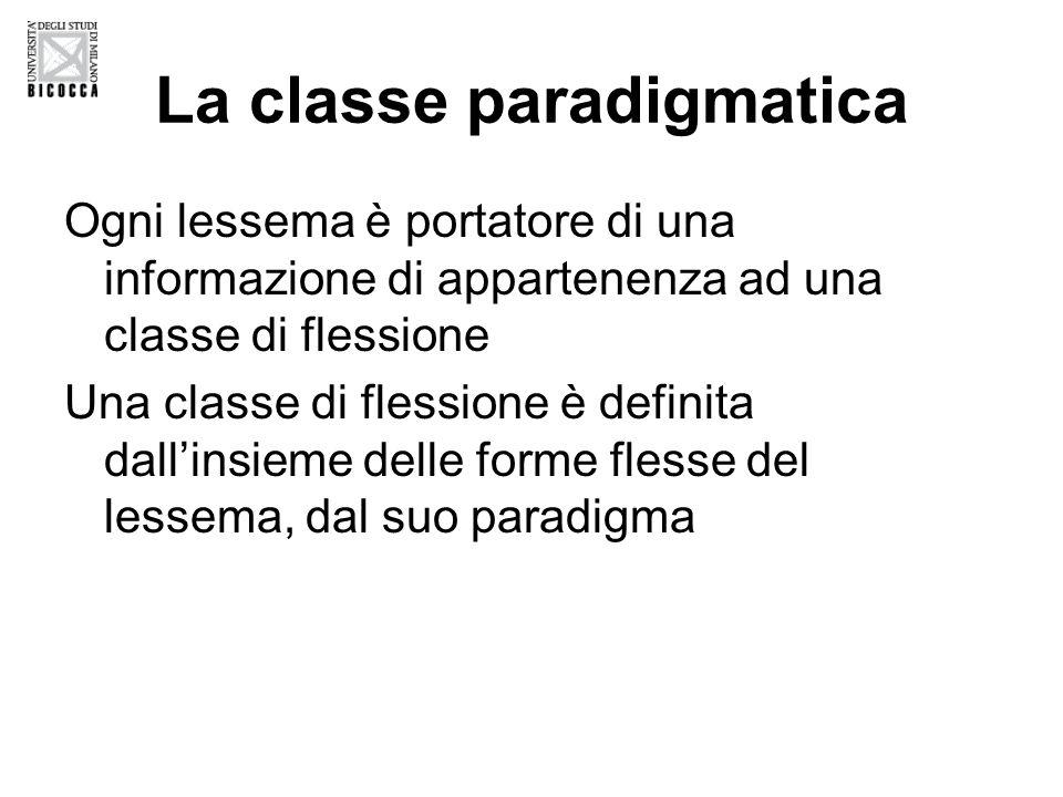 La classe paradigmatica Ogni lessema è portatore di una informazione di appartenenza ad una classe di flessione Una classe di flessione è definita dall'insieme delle forme flesse del lessema, dal suo paradigma
