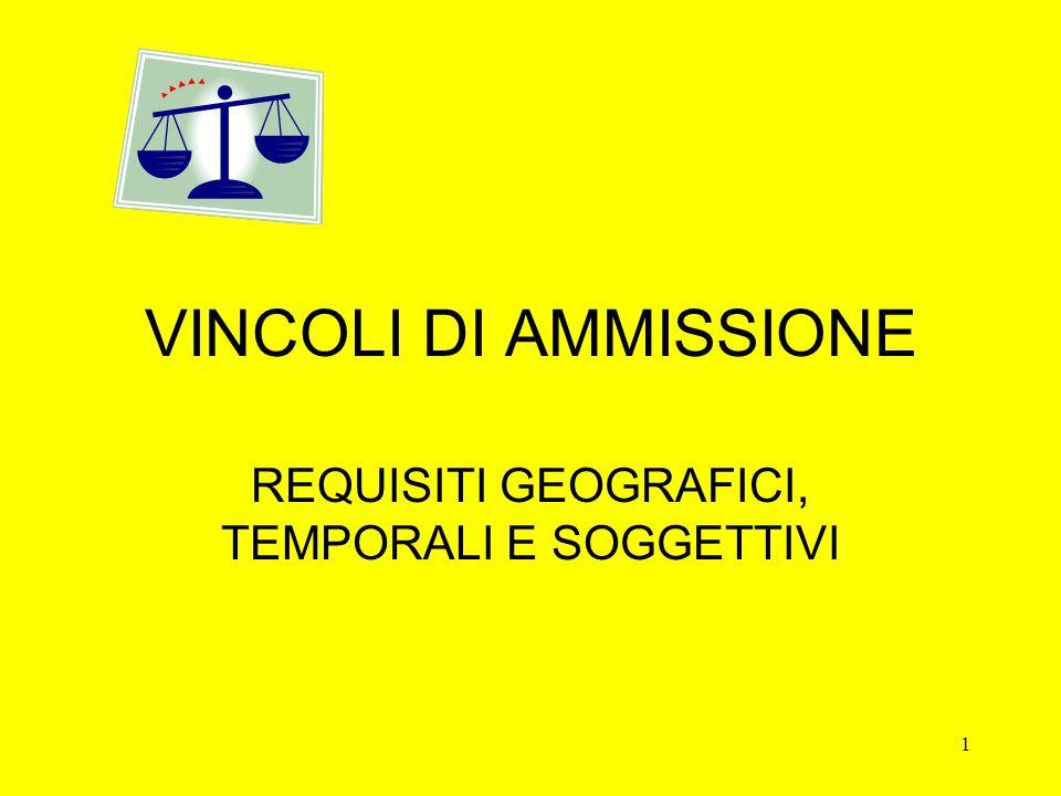 1 VINCOLI DI AMMISSIONE REQUISITI GEOGRAFICI, TEMPORALI E SOGGETTIVI