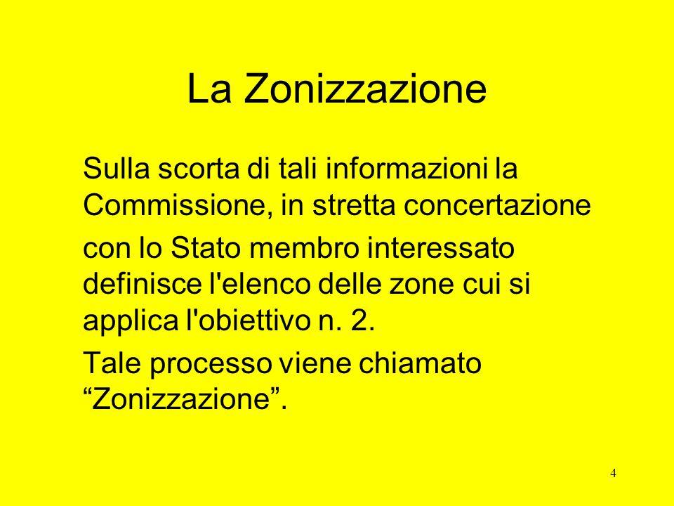 4 La Zonizzazione Sulla scorta di tali informazioni la Commissione, in stretta concertazione con lo Stato membro interessato definisce l elenco delle zone cui si applica l obiettivo n.