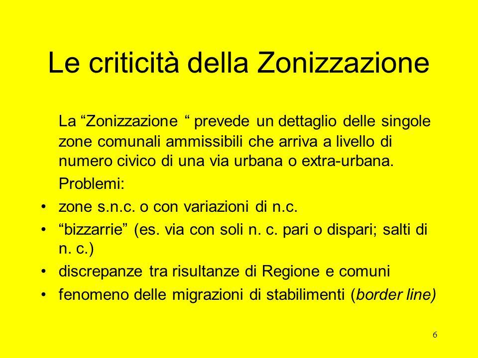 6 Le criticità della Zonizzazione La Zonizzazione prevede un dettaglio delle singole zone comunali ammissibili che arriva a livello di numero civico di una via urbana o extra-urbana.