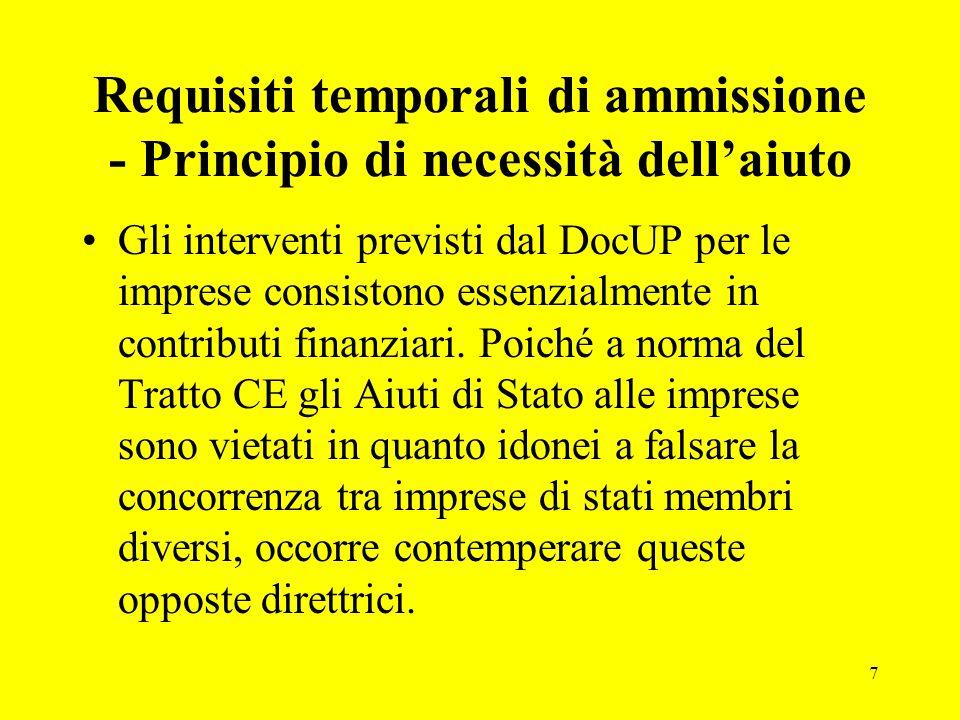 7 Requisiti temporali di ammissione - Principio di necessità dell'aiuto Gli interventi previsti dal DocUP per le imprese consistono essenzialmente in contributi finanziari.