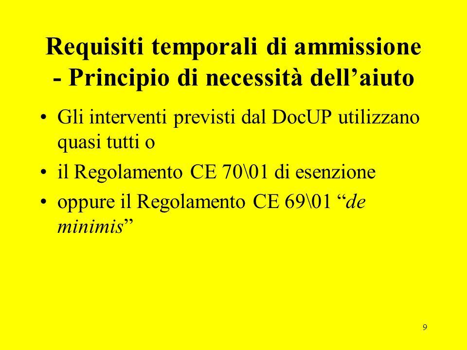 9 Requisiti temporali di ammissione - Principio di necessità dell'aiuto Gli interventi previsti dal DocUP utilizzano quasi tutti o il Regolamento CE 70\01 di esenzione oppure il Regolamento CE 69\01 de minimis