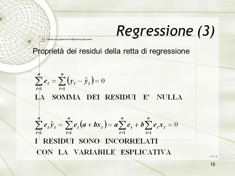 10 Regressione (3) Proprietà dei residui della retta di regressione …