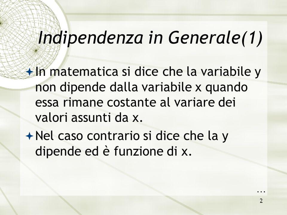 2 Indipendenza in Generale(1)  In matematica si dice che la variabile y non dipende dalla variabile x quando essa rimane costante al variare dei valo