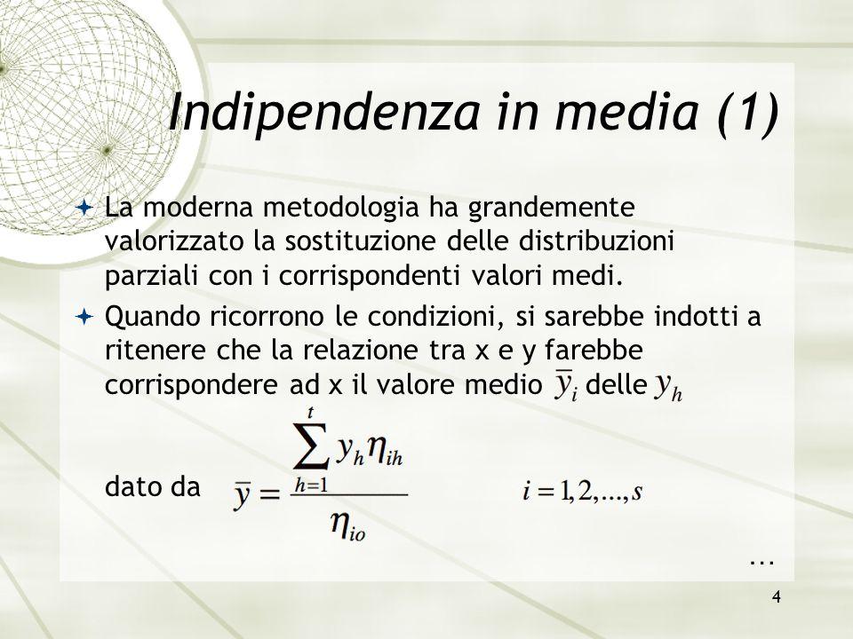4 Indipendenza in media (1)  La moderna metodologia ha grandemente valorizzato la sostituzione delle distribuzioni parziali con i corrispondenti valo