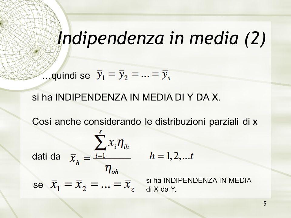 5 Indipendenza in media (2) si ha INDIPENDENZA IN MEDIA DI Y DA X. …quindi se Così anche considerando le distribuzioni parziali di x dati da se si ha