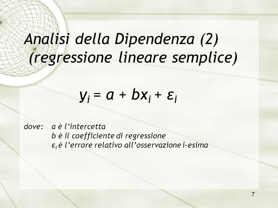 8 Regressione lineare semplice (1) Il calcolo dei parametri della RETTA DI REGRESSIONE si effettua con il metodo dei MINIMI QUADRATI; in altre parole si sceglie la retta per la quale la somma dei quadrati degli scostamenti tra i valori teorici e quelli osservati del carattere y sia minima: ossia: …